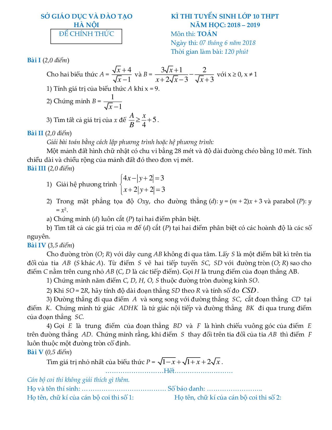 Kết quả hình ảnh cho đề ôn thi vào lớp 10 môn toán hà nội